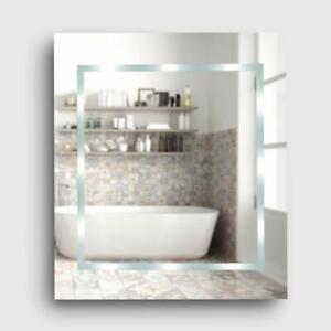 Modern Slim LED Battery Operated Illuminating Rectangula Bathroom Mirror MiniSun