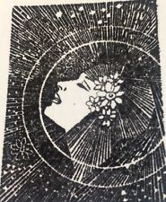 Sunburst Woman Rubber Stamp Francisco  Collage Halos Flowers Face  Profile  RARE
