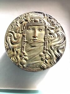Antique ART NOUVEAU BRASS STUD BOX RING TRINKET MAIDEN WOMAN Silver Washed.