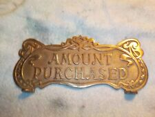Cash Register Red Brass (Bronze) Top Sign Ncr