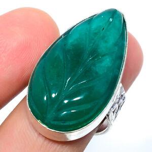 Carved Emerald Quartz Gemstone 925 Silver Handmade Jewelry Ring s.8 M148