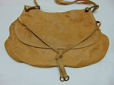 BCBG MAX AZRIA beige leather shoulder bag handbag satchel hobo
