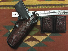 "Colt RIA Springfield Ruger 4.25"" 1911 Holster & Magazine Pouch 45 Floral Scroll"