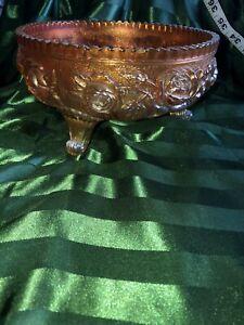 Vintage Imperial Marigold Carnival Glass Footed Rose Bowl Ornate