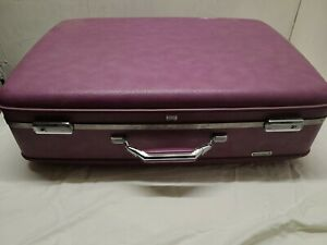 "Vintage 26"" American Tourister Purple Hard Shell Suitcase Luggage Keys"