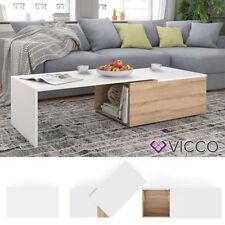 VICCO Couchtisch LEO 60x100cm Sonoma Eiche Weiß Wohnzimmertisch Beistelltisch