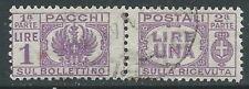 1946 LUOGOTENENZA USATO PACCHI POSTALI 1 LIRA - Z5-2