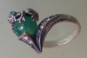 Ring Frog Feng Shui Money real Jade and crystals green  size R