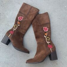 FRYE brown suede leather floral embroidered boot