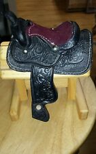 One black  Breyer Johnny West Miniature Saddle  Tooled Leather Western
