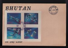 1967 Bhutan First Day Oversized Cover FDC Space 3D Stamp Complete (Block of 4)