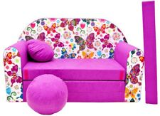 Children's sofa bed Fold Out Sofa Foam Bed for children + free pillow and pouffe