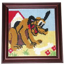 Pluto Needlepoint - FRAMED IN MAHAGONY