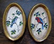 2 Antique Oil On Wood OVAL BIRD PAINTING Gilt Frames Handmade Hummingbird Red