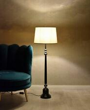 Grosse Tischlampe Lampenschirm Weiss Retro Leuchte Landhaus Lampe Stehlampe 90cm