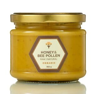 ORGANIC Raw HONEY & BEE POLLEN Pure Natural Rich in minerals, immunity support