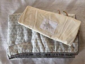 rh baby Restoration Hardware Printed Organic Cotton Quilt Gray