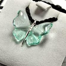 LALIQUE GREEN CRYSTAL 925 STERLING SILVER PAPILLON BUTTERFLY NECKLACE PENDANT