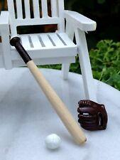 Miniature Dollhouse FAIRY GARDEN Accessories ~ Wood Baseball Bat w Ball & Glove