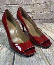 STUART WETZMAN HEELS SHOES Open Toe Red Patent Leather Size 7.5