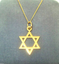 9CT HALLMARKED YELLOW GOLD HIGHLY POLISHED STAR OF DAVID PENDANT (+ CHAIN)