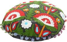 """Indian Vintage Suzani Round Pillow Case 16"""" Embroidered Throw Cushion Cover"""
