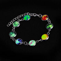 Women Full Moon Galaxy Space Cabochon Bracelet Glow in the Dark Luminous Jewelry