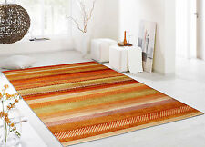 "6'6""x8' Multi Stripe Gabbeh 100% Hand Knotted Woolen Area Rugs Carpets"