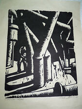 Vtg. 1968 Jacob Pins Original Woodcut Print Man at Work Signed & Dated 32 x 24cm
