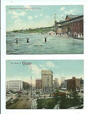2 vintage 1913 posted OHIO Postcards CLEVELAND Edgewater Bathing Beach Downtown