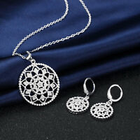 New 925 Silver Filled Crystal Filigree Flower Pendant Necklace / Earrings Set