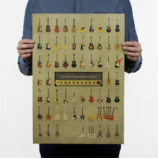 world famous guitar collection vintage poster vintage wall sticker home decor TK