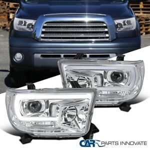 For 07-13 Toyota Tundra 08-17 Sequoia Clear Lens Projector Headlights w/ LED DRL