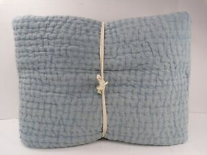 Pottery Barn Sky Blue Stonewashed Pickstitch Cotton Quilt Full Queen #9596