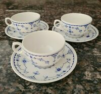 Vintage Furnivals Limited England Blue Denmark Set of 3 Cups & Saucers      #811