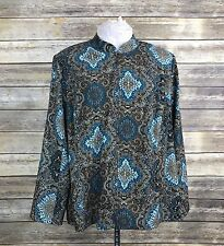 Notations Jacket Woman Plus Size 1X Blue Lightweight Paisley Full Zip Casual