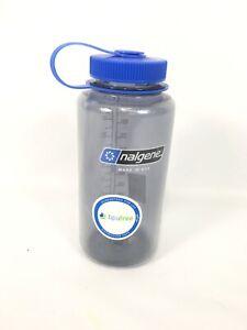 * Nalgene * Tritan Wide Mouth Water Bottle - 32 oz. BPA Free! Gray/Blue NEW USA!