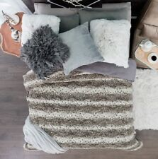 LEOPARD GRAY BLANKET WITH SHERPA VERY THICK,SOFT AND WARM QUEEN/KING