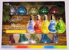 Sparkle Glitter 10 LED Solar Lightbulb String Lights - Multi Coloured Garden Par