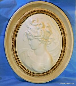 """Large Vintage Alexander Backer Victorian Cameo Pictures 17½"""" x 14¼"""" x 2"""" Oval"""