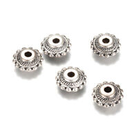 50pcs Tibetan Alloy Carved Metal Beads Rondelle Dotted Edge Silver Spacers 10mm