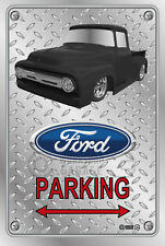 Parking Sign - Metal - Ford F100 - 1955 - 1956 - Custom - BLACK TRUCK