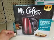 BRAND NEW**MR COFFEE STAINLESS STEEL ELECTRIC KETTLE (RED). 1.7L. AUTO OFF +MORE