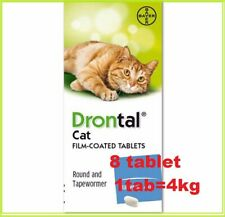 DRONTAL BAYER DRONTAL DEWORMER FOR CAT & Kittens  WORMS ROUND TAP WORM 8 TABLETS