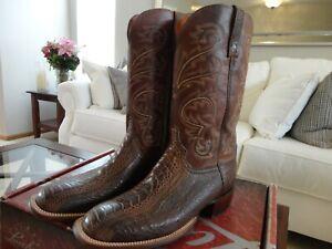 Lucchese Mens Handmade Stewart Choc Ostrich Leg Horsemans Boots SquareToe 10.5EE