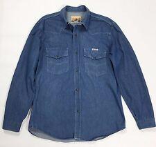 Wampum jeans camicie uomo M shirt casual lunga azzurra blu usato vintage T1917