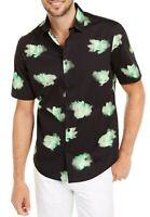 Alfani Mens Shirt Black Green Size Medium M Briston Flower Button Down $55 166