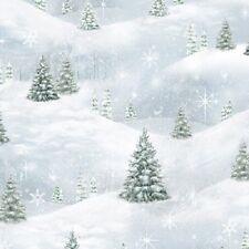 WOODLAND FRIENDS CHRISTMAS TREES SNOW LANDSCAPE CHRISTMAS FABRIC