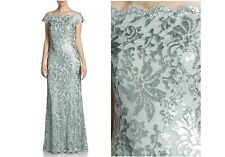NWT Tadashi Shoji  Metallic Sequin Lace Off Shoulder Dress Gown Ice white sz 12