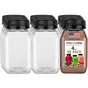 Stock Your Home 4 oz Empty Plastic Juice Bottles with Caps - 12 pack